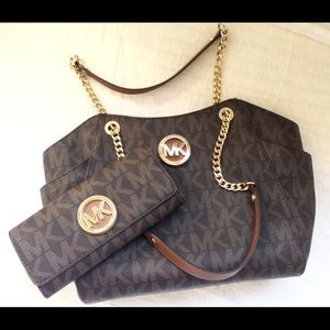 Michael Kors Jet Set Brown Logo Bag and Wallet